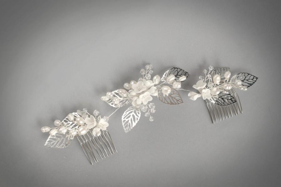زفاف - Wedding hair piece, wedding headpiece with Freshwater pearls, Wedding hair comb, Pearl Hair Comb, Bridal Hair Comb, Bridal Hair Piece