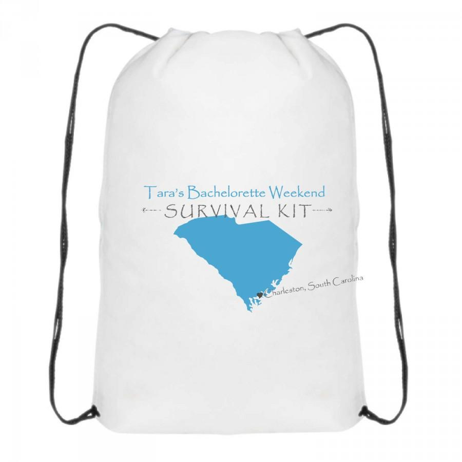 "Hochzeit - Backpack, Bachelorette Party, Drawstring Bag, White 16.5""H x 13""W Bag, Charleston, South Carolina, High Quality, Quick Turnaround!"