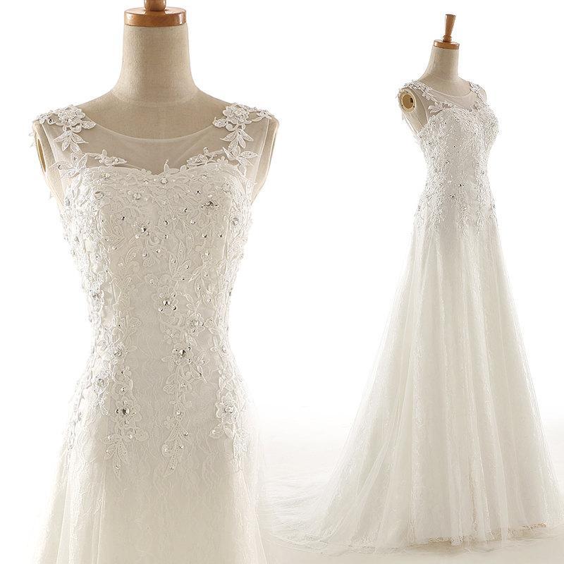 Свадьба - 50shouse_Illusion neckline lace retro feel tulle wedding dress with sash_ custom make