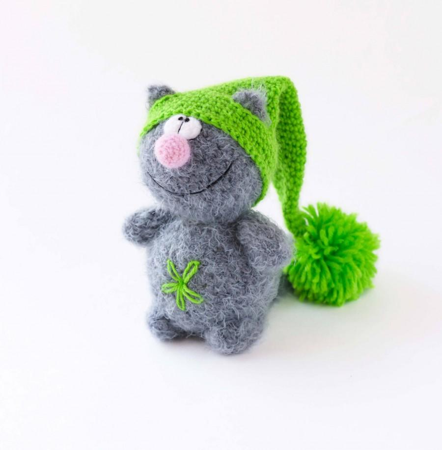 Plush Grey Cat Stuffed Toy In Green Hat Hand Knitted Toy Cat