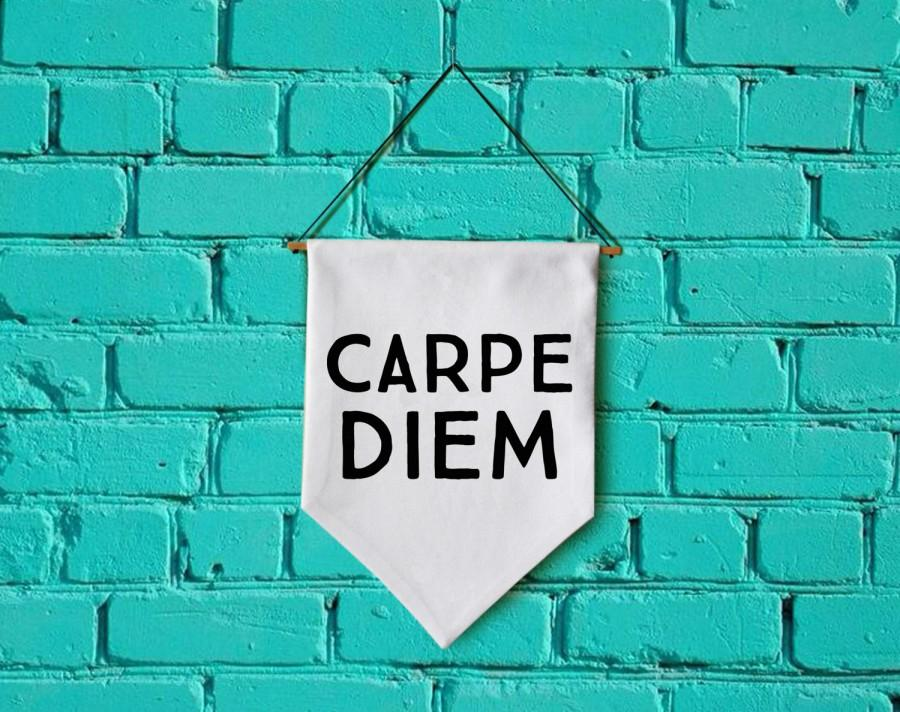 Wedding - Carpe Diem wall banner wall hanging wall flag canvas banner quote banner single pennant bathroom decor motivational quote
