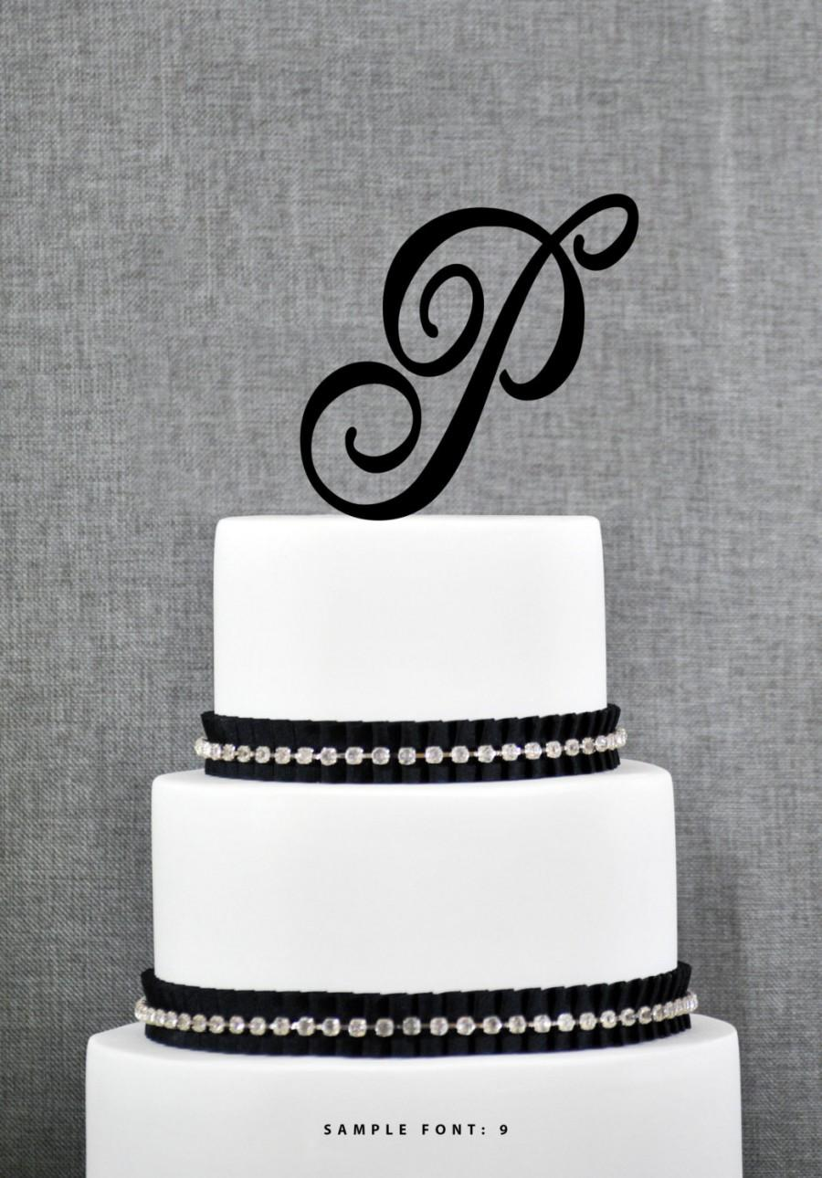 Personalized Monogram Initial Wedding Cake Toppers -Letter P, Custom ...