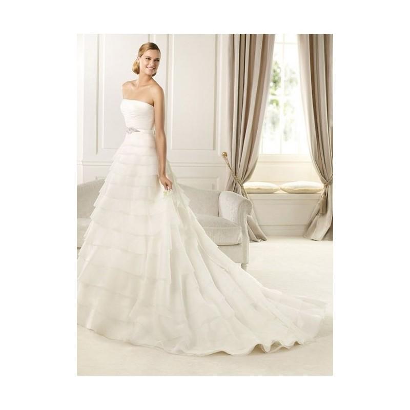 Wedding - 2017 Refined Flat Tiered Chapel Train White A-line Wedding Dress In Canada Wedding Dress Prices - dressosity.com