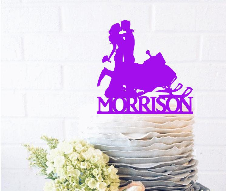 Mariage - Snowmobile Bride and Groom Silhouette Wedding Cake Topper with surname snow mobile cake topper Groom Dancing Cake Topper silhouette cake