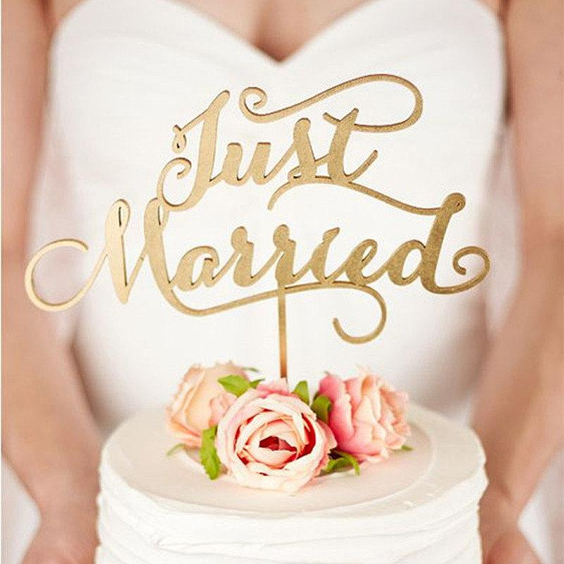 Wedding - Just Married Wooden Cake Topper