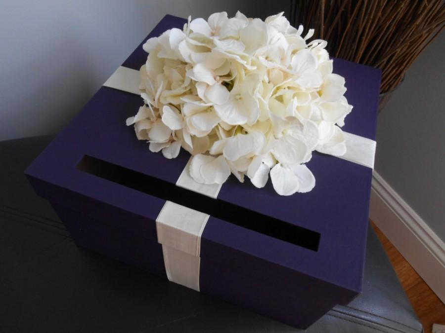 custom wedding card box dark purple with ivory hydrangeas wedding reception card box money holder plum purple wedding gift card box
