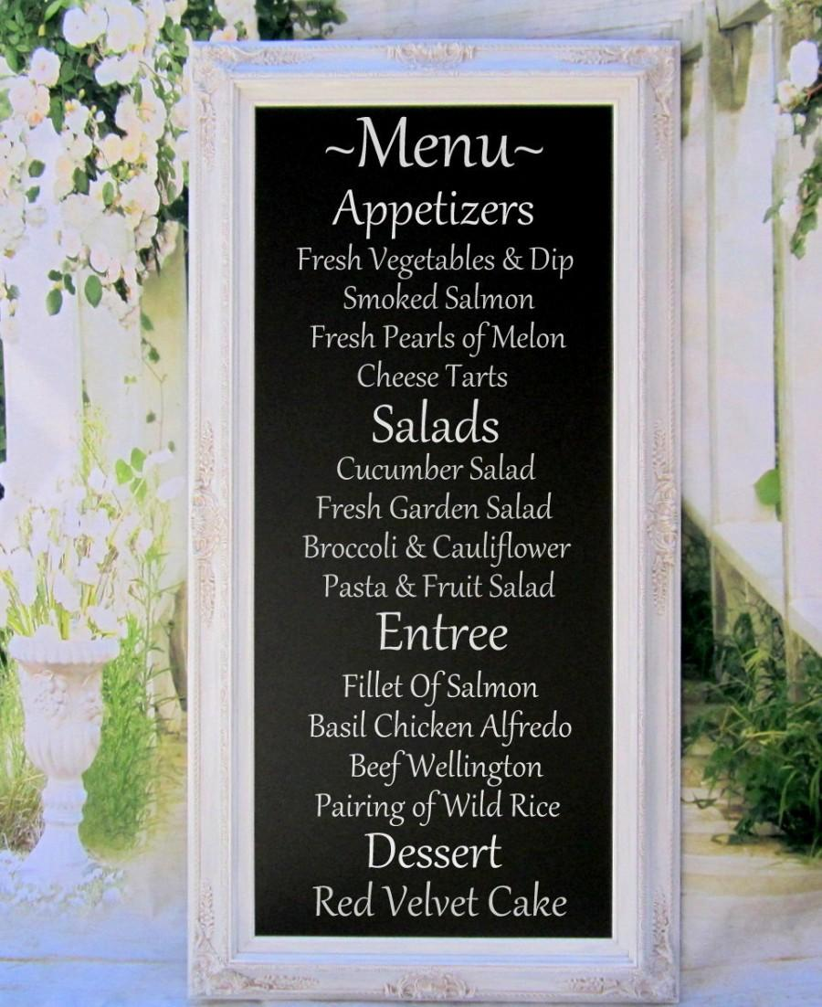 wedding menu board long chalkboard attached stand easel x large standing chalkboard 56x32 white framed wedding menu display board - White Framed Chalkboard
