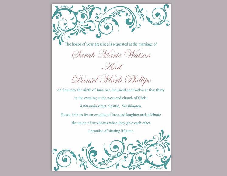 Свадьба - Wedding Invitation Template Download Printable Wedding Invitation Editable Invitation Elegant Teal Wedding Invitation Blue Invitations DIY - $6.90 USD
