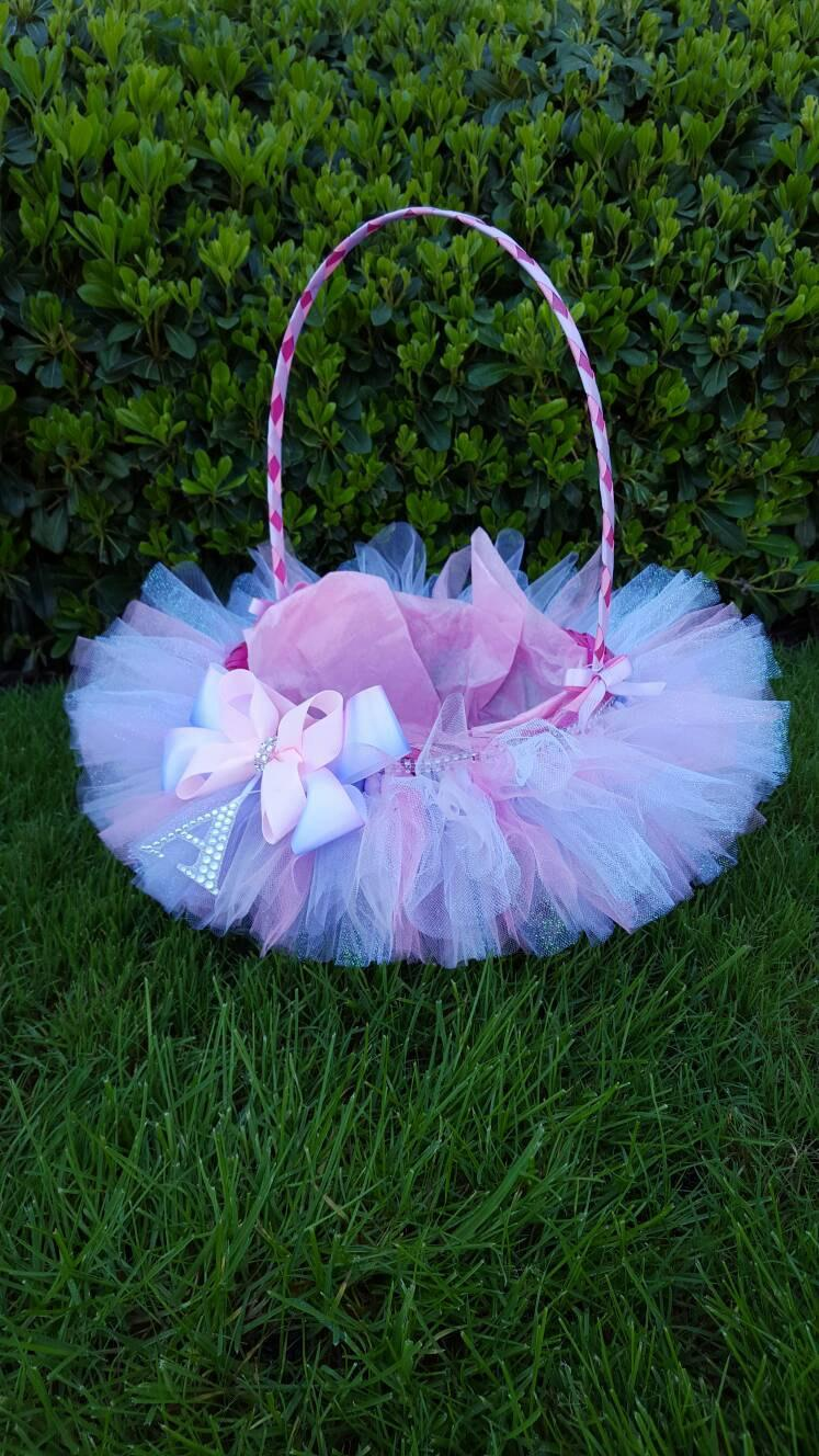 Flower girl basket tutu basket easter basket lined wedding basket flower girl basket tutu basket easter basket lined wedding basket baby shower table centerpiece gift basket traditional easter basket negle Choice Image