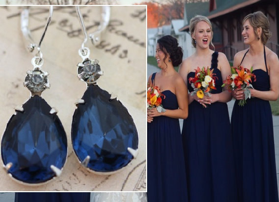 زفاف - Navy Blue Wedding Set of 5 Pairs Navy Bridesmaid Earrings Bridesmaids Jewelry Bridal Party Gift Pear Gray Navy Silver Clip On Earrings Avail