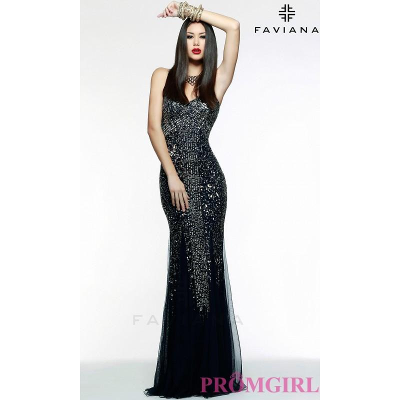 Düğün - Long Strapless Sequin Formal Gown by Faviana - Brand Prom Dresses