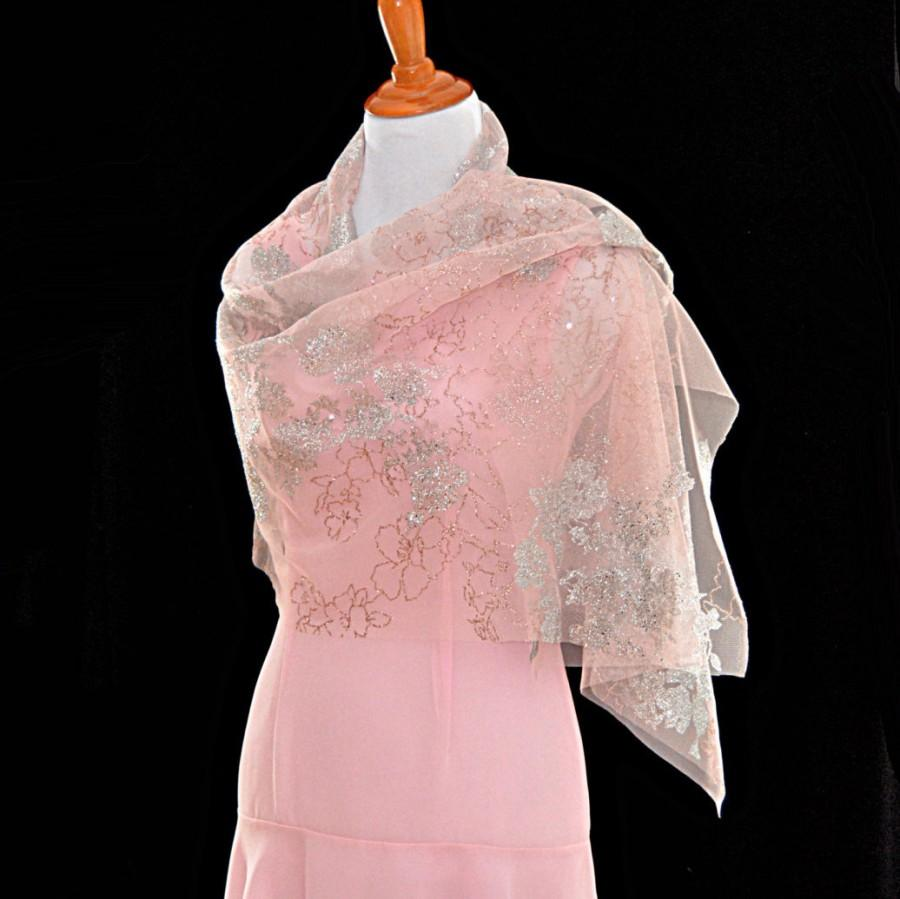 50639c3a6837e Pink wedding shawls, classic wedding, floral Glitter cape, sheer bridal  wrap, bridal cover up, peach color shawl, evening gown shawl
