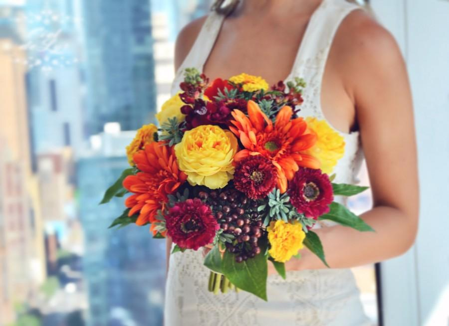 Fall Wedding Bouquet, Orange Bridal Bouquet, Fall Flowers, Realistic ...