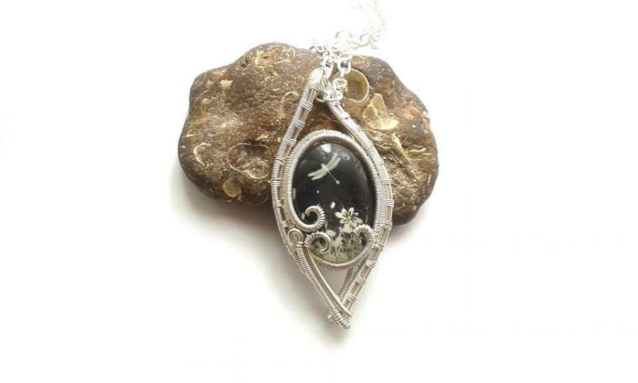 Wire Wrapped Dragonfly Cabochon Pendant, Wire Wrapped Jewelry, Wire ...