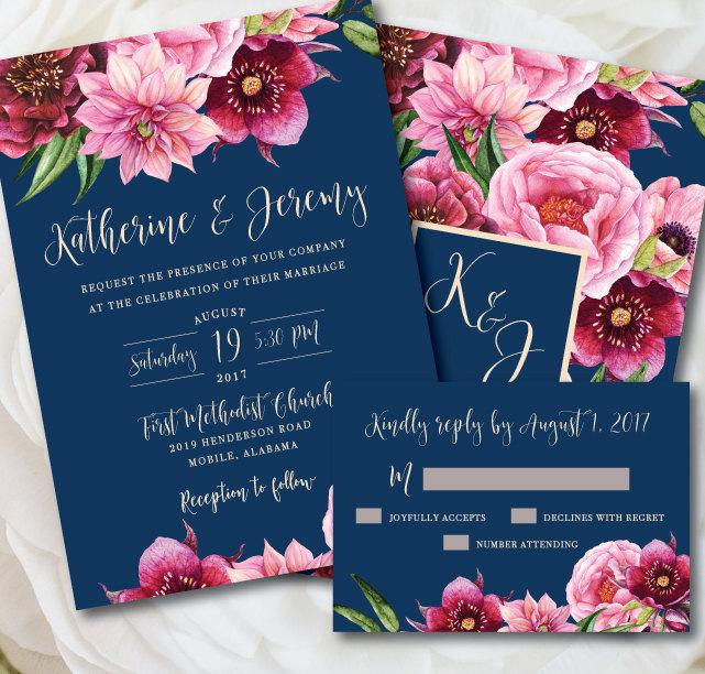 زفاف - Navy Wedding Invitation, Navy and Pink Wedding, Printable Wedding Invitation, Floral Wedding, Navy and Pink, Navy and Blush