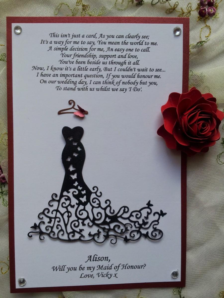 Свадьба - Will You Be My BRIDESMAID Personalized Proposal Invitations Card Maid Matron of Honor Bridal Gown Invitation Red Carpet Dress Butterflies