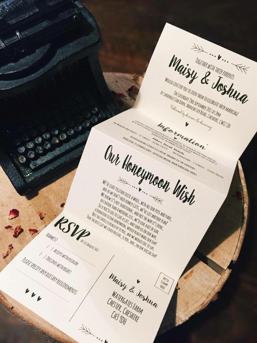 زفاف - 1 Rustic/Vintage/Shabby Chic 'Maisy' Wedding Invitation/card set Sample - Concertina fold