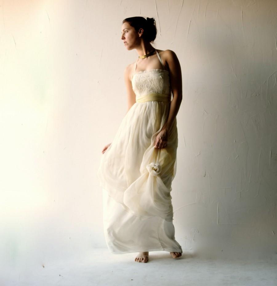 Wedding - Wedding dress, Yellow wedding dress, Simple wedding dress, Hippie boho wedding dress, pagan wedding dress, Alternative wedding dress, custom