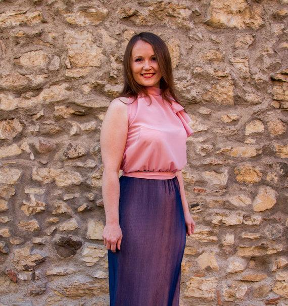 Свадьба - Blue/Pink evening dress long dress/evening dress/Maxi dress with pleated fabric tailored/customized