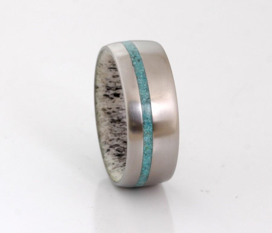 زفاف - ANTLER wedding ring titanium wedding band TURQUOISE woman man ring antler ring