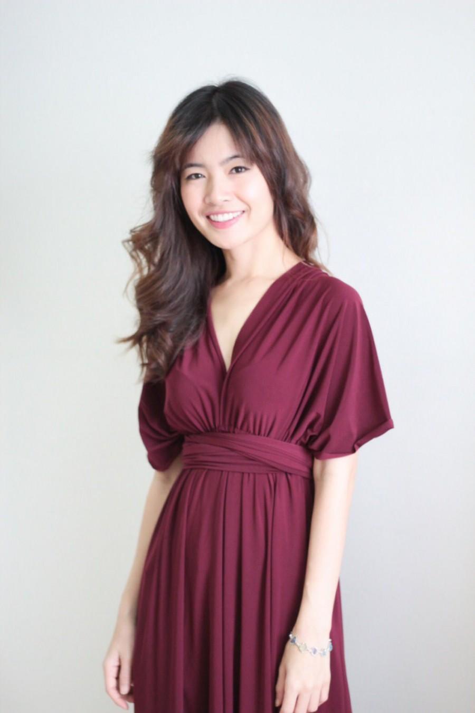 Maxi Burgundy Infinity Dress Prom Dress Convertible Dress Bridesmaid ...