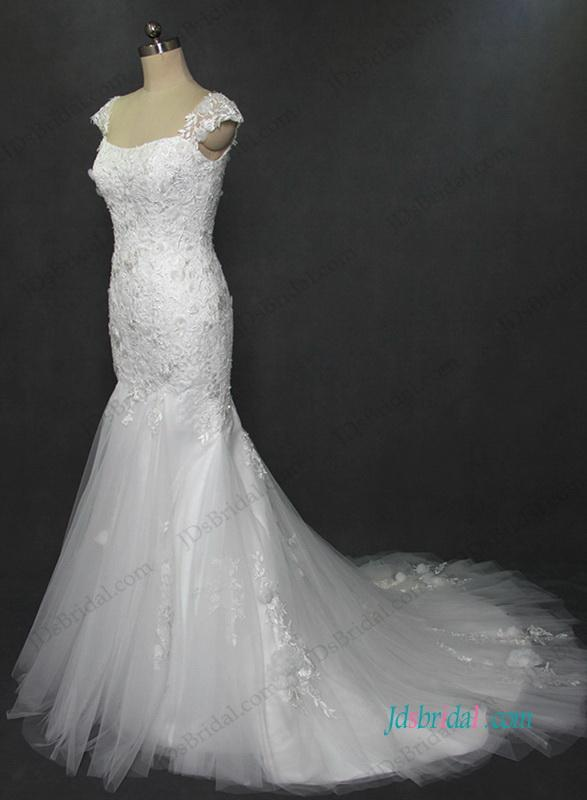 Wedding - Florals lace mermaid wedding dress with cap sleeves