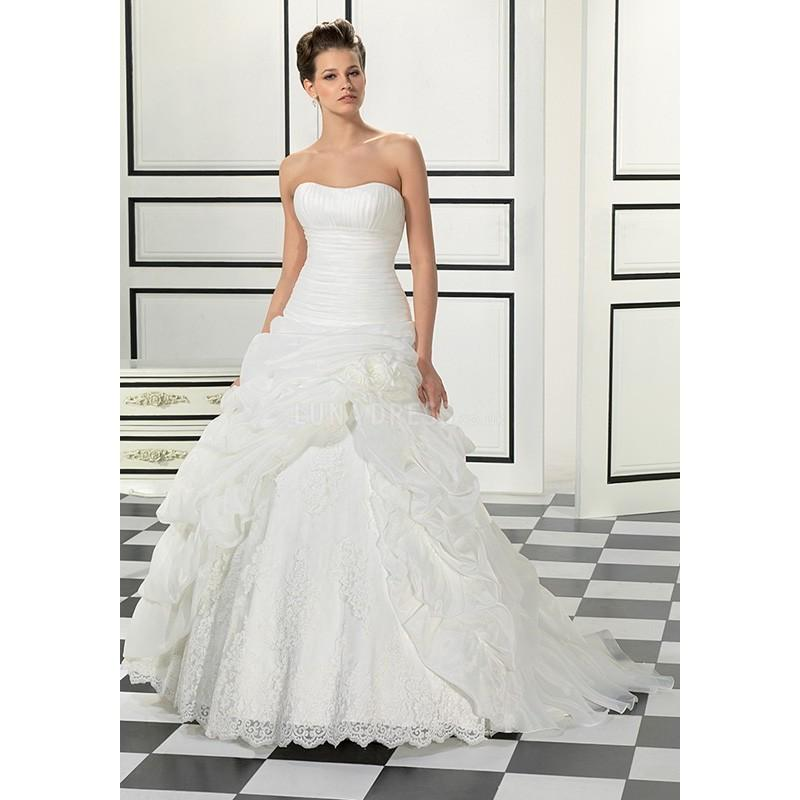 Свадьба - Timeless Floor Length A line Scoop Organza Wedding Gowns With Pick ups - Compelling Wedding Dresses