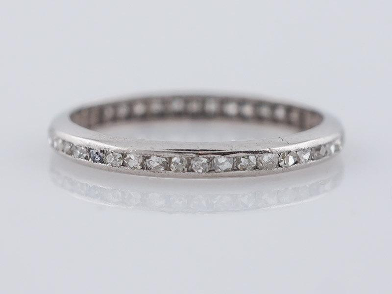 Wedding - Antique Eternity Wedding Band Art Deco .91ct French Cut Diamonds in Vintage Platinum