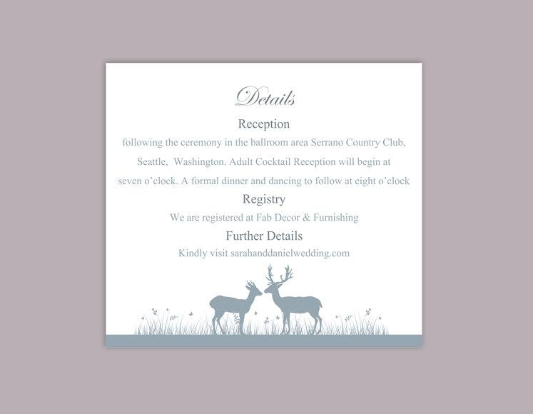 Свадьба - DIY Wedding Details Card Template Download Printable Wedding Details Card Reindeer Editable Gray Silver Details Card Information Cards Party - $6.90 USD