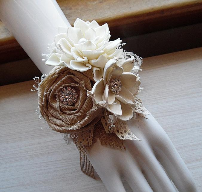 Mariage - Ships in 5 days ~~~ Wrist Corsage, Sola Flowers, Tan Rolled Cotton Roses, Rhinestones, Rustic Country Wedding.