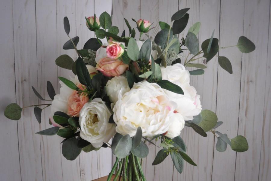 Peony Eucalyptus Bouquet Blush Boho Wedding Seeded