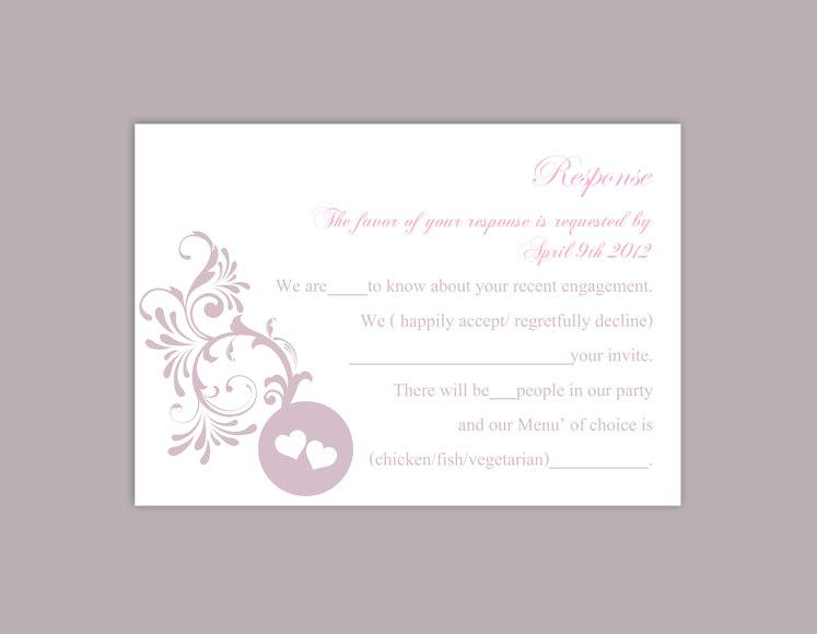 Hochzeit - DIY Wedding RSVP Template Editable Word File Instant Download Rsvp Template Printable RSVP Cards Lavender Lilac Rsvp Card Elegant Rsvp Card - $6.90 USD
