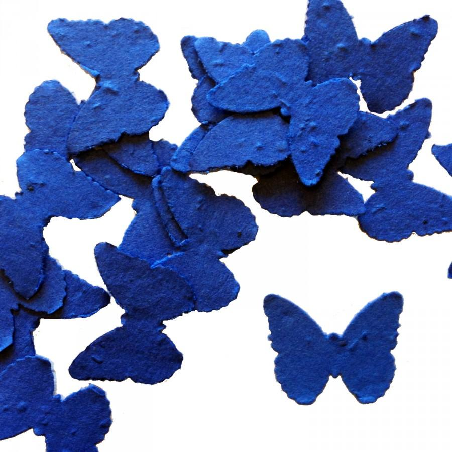 Mariage - Royal Blue Butterfly Shaped Plantable Seed Paper Confetti, Wildflower Seed, Recycled Paper  - 100 Pack