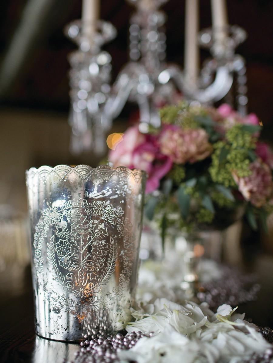 Mariage - Desiray Mercury Glass Votive Holder, Small Vase 4.75 in