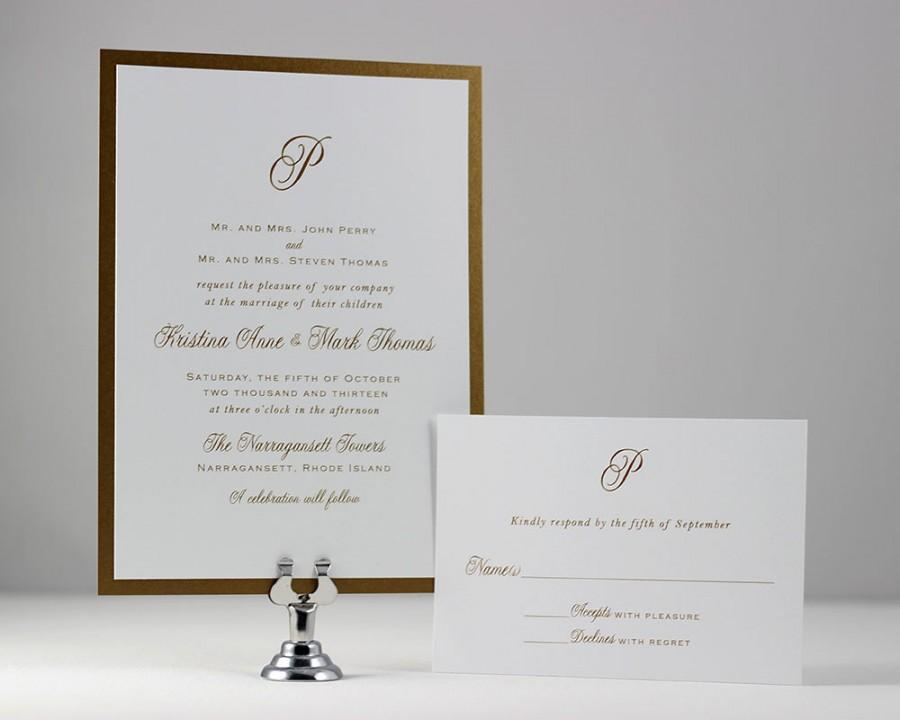 Gold Monogram Wedding Invitations Wedding Invites Gold Monogram