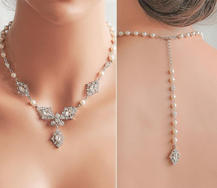 Mariage - Backdrop Necklace, Bridal Back Drop Necklace, Swarovski Pearl Y Drop Wedding Necklace, Wedding Backdrop Necklace and Earrings Set, STEFFANIE