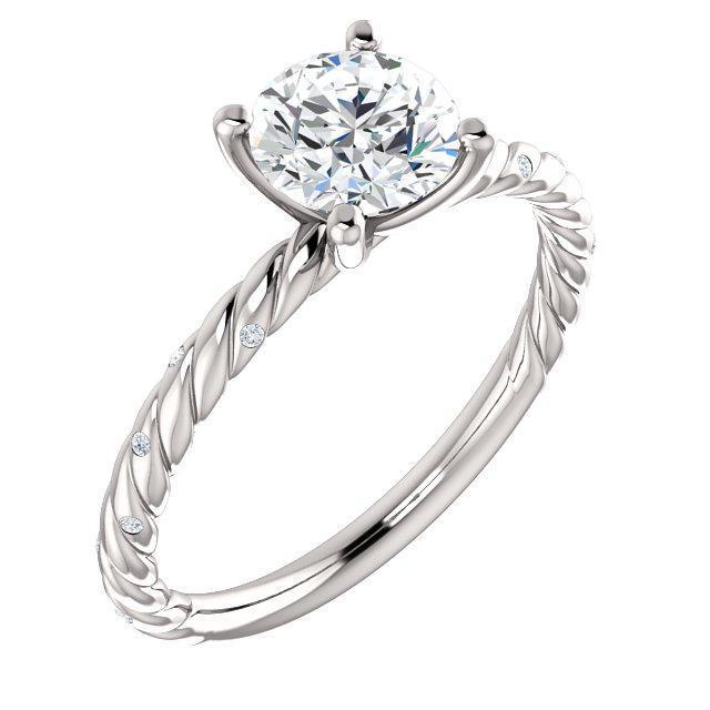 Mariage - 14k Gold or Platinum Twisted Band Diamond Engagement ring, Gypsy Set Engagement Setting, Diamond Semi-mount, Imbedded Dimaond Band, Inset