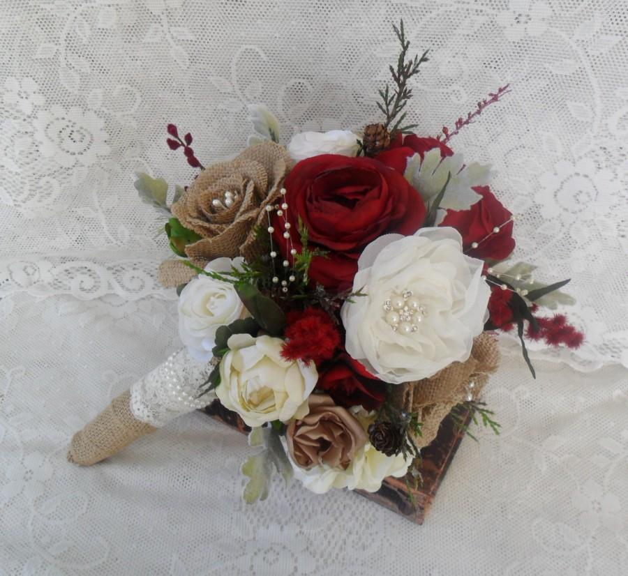 Mariage - Bridal Bouquet, Rustic Wedding Bouquet, Christmas Bouquet, Burgundy Red Bouquet, Woodland Bouquet, Winter Bouquet, Brooch Bouquet, Vintage