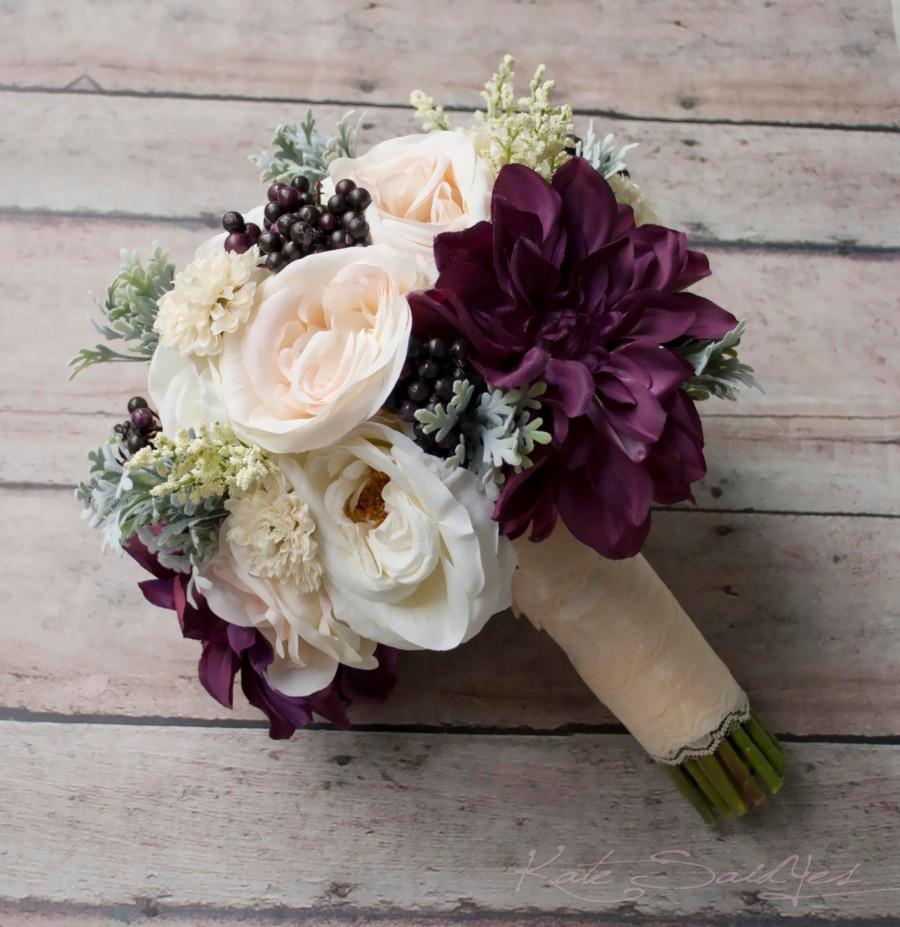 Свадьба - Rustic Bouquet - Blush Ivory and Plum Garden Rose and Dahlia Wedding Bouquet