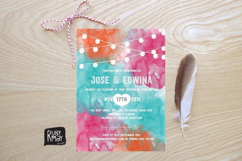 Hochzeit - String Lights invitation, digital or printed, bright watercolor wedding invitation, fairy lights invite, beach wedding, orange, teal, pink