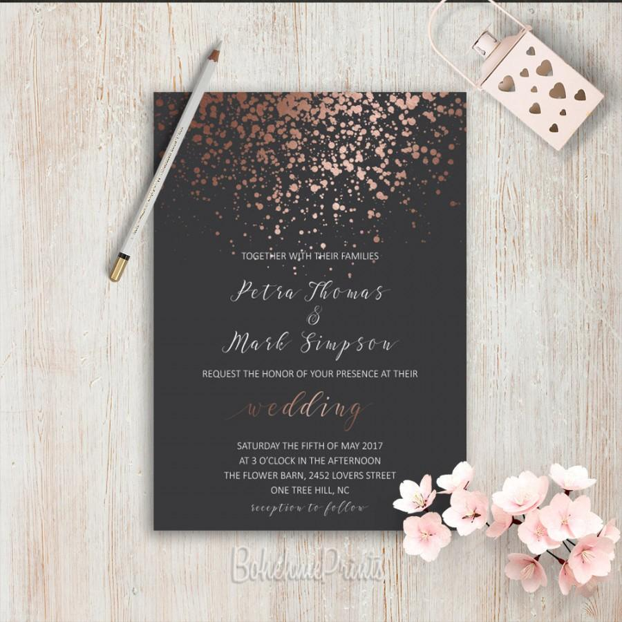 elegant wedding invitations simple wedding invitation rose gold grey wedding invitation set modern wedding invitation suite pink grey invite - Simple Elegant Wedding Invitations
