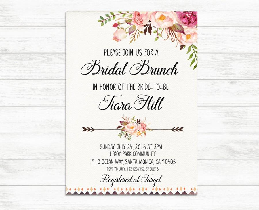 Bridal brunch invitation printable bridal invite floral for Wedding brunch invitations