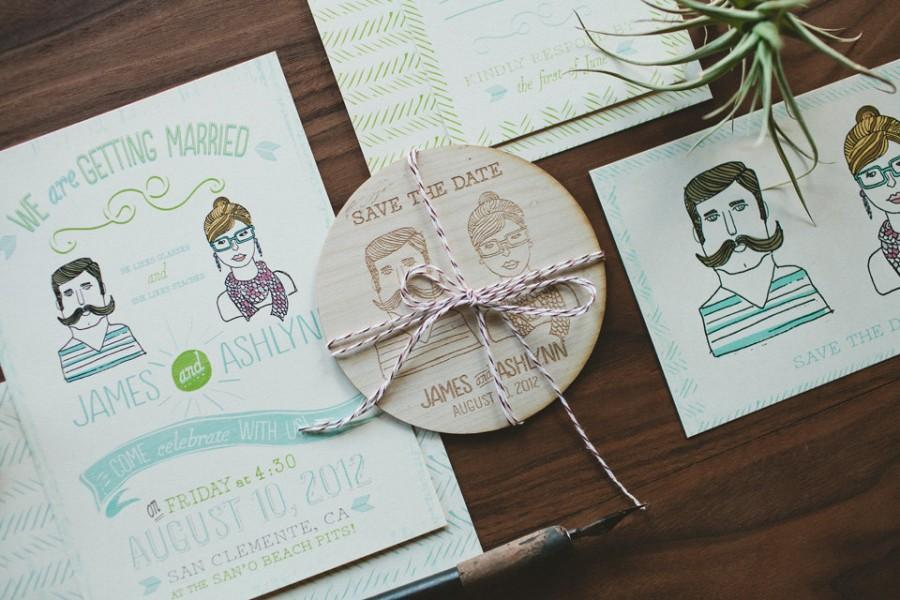 Hochzeit - Rustic Wedding Invitation: Custom illustration invitation, Bohemian Style