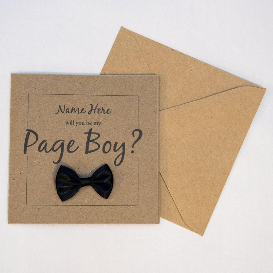 Hochzeit - Page Boy Card, Will you be my... Page Boy, Personalised, 4x4 Brown Card, Black/White/Red/Blue/Pink/Purple Bow, Wedding Day Card, Proposal