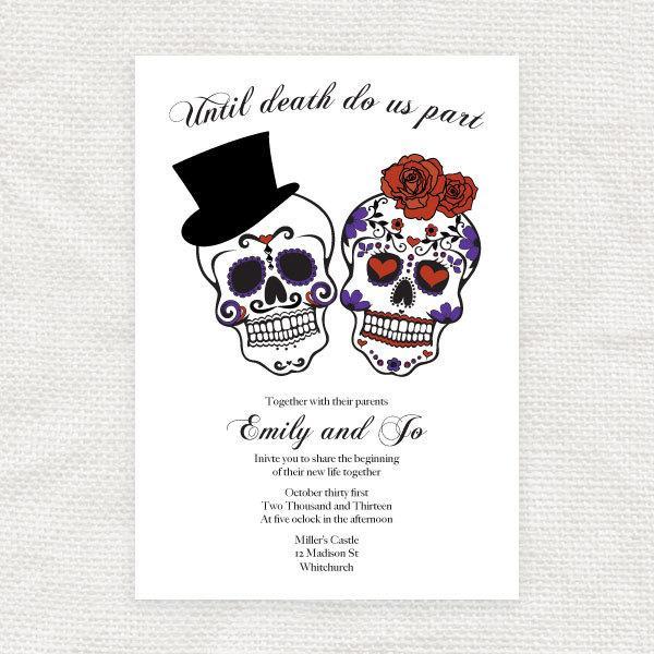 Dia De Los Muertos Wedding Theme Ideas: Until Death Do Us Part Wedding Invitation Sugar Skulls