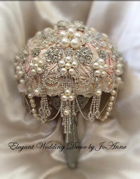 زفاف - PINK BROOCH BOUQUET Custom Wedding Bouquet Silver Brooch Bouquet Pink and Silver Jeweled Bouquet Broach Bouquet Crystal Bouquet, Deposit