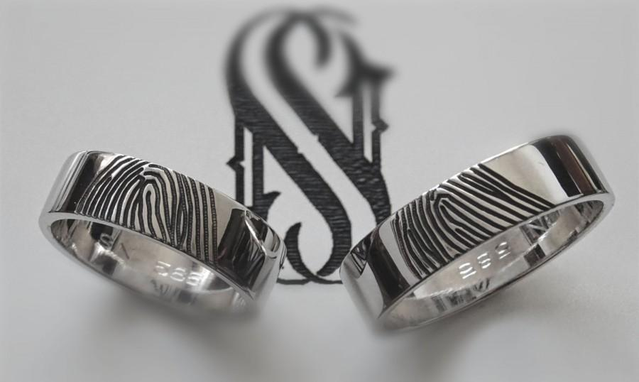 Fingerprint Wedding Bands 14k White Gold Wedding Rings Unique