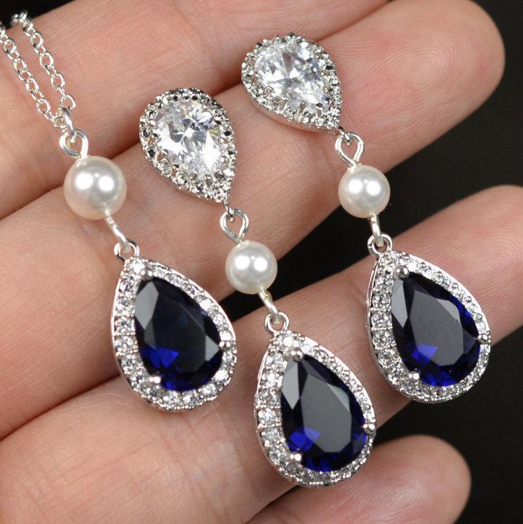 Hochzeit - Blue Navy blue,sapphire blue Wedding Jewelry Bridesmaid Gift Bridesmaid Jewelry Bridal Jewelry tear Earrings & necklace SET,bridesmaid gi