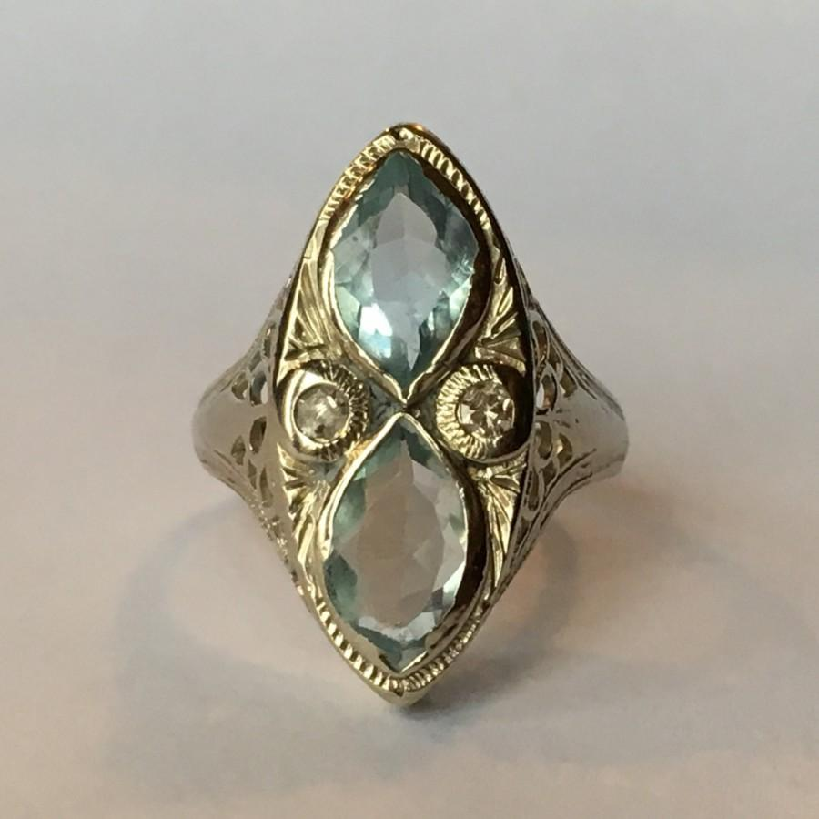 Mariage - Vintage Aquamarine Ring. Diamond Accents. 14k Gold Art Deco Filigree Setting. Unique Engagement Ring. March Birthstone. 19th Anniversary.