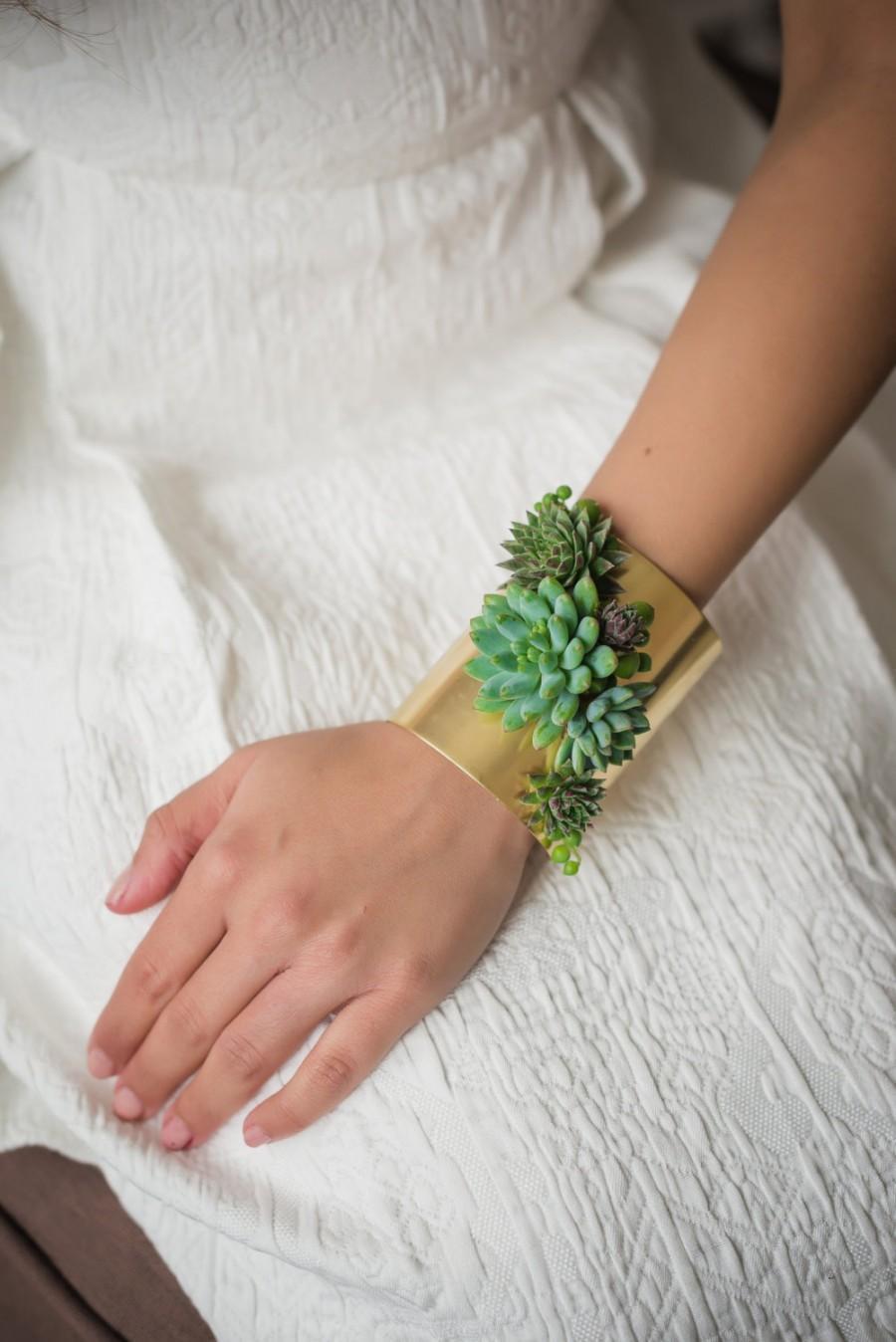 زفاف - Live succulent cuff bracelet